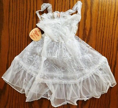 Girls vintage petticoat dress lacy white nylon Stevex  Age 4 1950s 1960s UNUSED