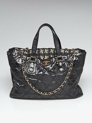 97bded79f153 Chanel Black Glazed Quilted Leather and Tweed Portobello Large Tote Bag