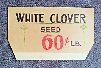 Vintage 1930's White Clover Seed Advertising Hand Painted Display Store Sign #2
