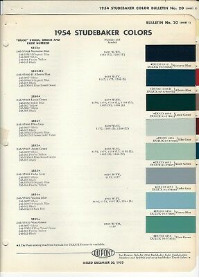 1954 And 1955 Studebaker (Car) Paint Chips (Dupont)