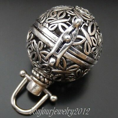 1X Silver Hollow Ball Petuni Charms Pendant Lockets 24*21*29mm Mexican Bola Bell