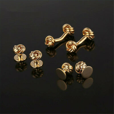2017 Luxury shirt cufflinks studs set men's Knot Design cuff links wedding Gift