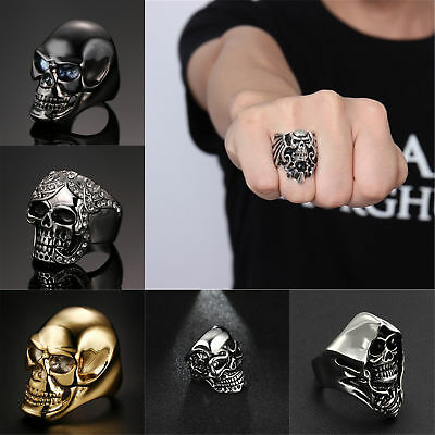 9 Design Newest Jewelry Men's Ring Stainless Steel Punk Skull Ring US Size 8-12