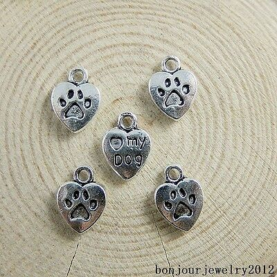 51147 Vintage Silver Alloy Carved Love My Dog Heart Charms Pendants Crafts 59x