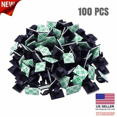 100 PCS Self-Adhesive Cable Wire Clips Tie Holder Clamps Organizer Management
