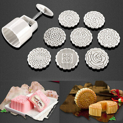 100g 8 Flower Stamps Round Pastry Moon Cake Mold Mould Cookies Mooncake Decor