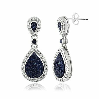 DB Designs Sterling Silver Blue Diamond Accent Teardrop Dangle Earrings
