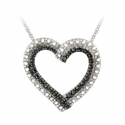 DB Designs Sterling Silver Black Diamond Accent Heart