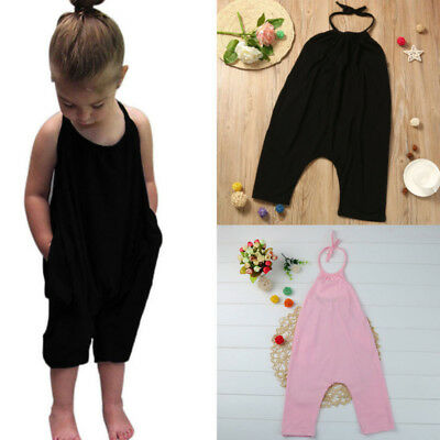 Toddler Kid Baby Girl Strap Romper Jumpsuit Harem Pants Outfit Clothes Summer KW