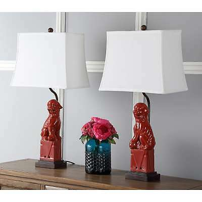 d48f0fedee96 SAFAVIEH TABLE LAMP Plug In 28 in. Red Dog Ceramic White Cotton ...