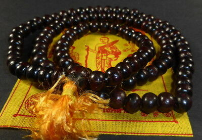 Buddhist REAL RED SANDALWOOD PRAYER BEAD MALA 9.75 mm EMPOWERED POSITIVE ENERGY