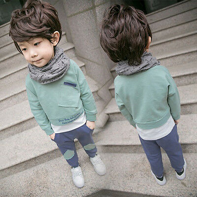 Toddler Baby Kids Girl Boy Tops Shirt+Long Pants Set Outfit Tracksuit Clothes KW