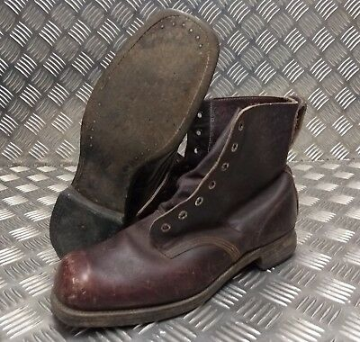 Genuine Vintage WW2 WWII 1942 Brown 7 Hole Leather Sole Boots Size EUR45 Faulty