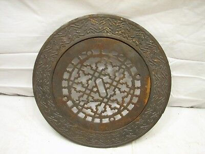 Round 2-pc Cast Iron Floor Ornate Register Heat Grate Vent Grille Architectural