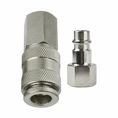 """2pk Air Line Fittings Female Coupler With 1/4"""" BSP Male Plug Euro Fitting"""