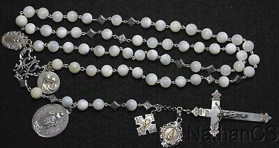 Very Unusual Large 1920's MOP, Sterling Catholic Rosary Many Rare Antique Medals