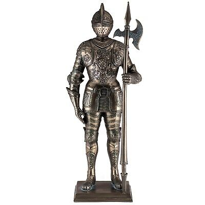 "Medieval Bronze Color Armored Knight With Ax Figurine Statue 13"" High Resin New"