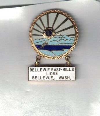 Vintage 1970-1980 Lions Club Dangle Pin East-Hills Bellevue Washington