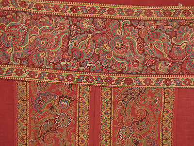 Antique French Curtain Provence Provencal Turkey red w/ printed border c1815
