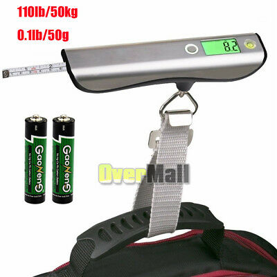 50kg/50g Portable Travel LCD Digital Hanging Luggage Scale Weight w/Tape Measure