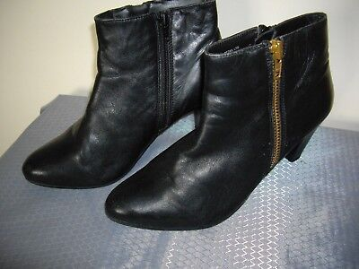 ddede20e6629 Matalan Soleflex Black Real Leather Zip Heeled Ankle Boots Uk 4 Excellent  Cond