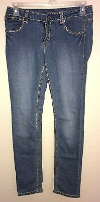 c4024a2de98 womens size 7 8 APOLLO blue denim JEANS PANTS stretch EMBROIDERY TRIM nice