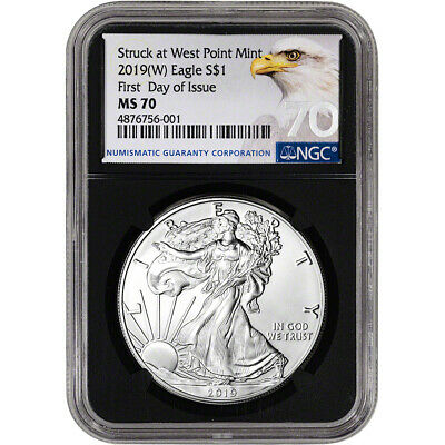 2019-(W) American Silver Eagle - NGC MS70 - First Day of Issue - Grade 70 - Bla