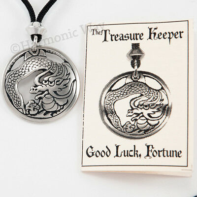 The TREASURE KEEPER DRAGON of ~  GOOD LUCK & FORTUNE Magical Pendant Necklace