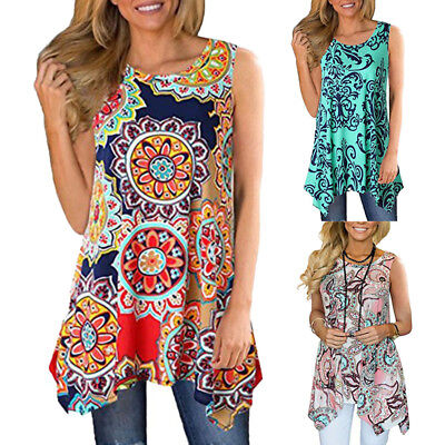 Women Retro Printed Sleeveless Shirt Asymmetrical Loose Tunic Blouse Tops Vest A