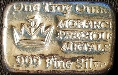 1 oz Silver Hand Poured Bar - Monarch Precious Metals 999 Fine Silver Bar
