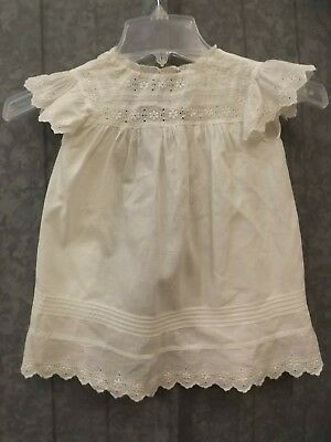 Adorable Vtg Embroidered Eyelet Lace Pintuck White Cotton Nightgown Baby Doll