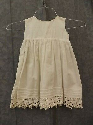 Vtg Antique White Cotton Pintucked Crocheted Shell Button Slip Baby Girl Doll