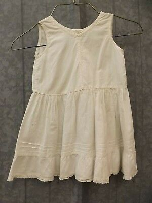 Vtg Vtg White Cotton Pintuck Crocheted Shell Button Slip Baby Toddler Girl Doll
