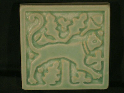 vintage Motawi Tileworks Art Tile Medieval Stylized Cat 4 in light green