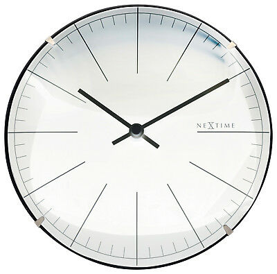 Nextime Wall Clock Big Stripe Mini Dome Table Ø20cm Quartz Watch Silent White