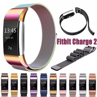 For Fitbit Charge2 Milanese Band Strap Replacement Metal Stainless Steel Magnet