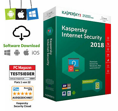 Kaspersky Internet Security - 1 Jahr Multi Device 2018 2019 2020 Vollversion Neu