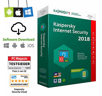 Kaspersky Internet Security 1PC - 1 Jahr Multi Device 2019 2020 Vollversion Neu