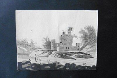 ITALIAN SCHOOL EARLY 19thC - RIVER LANDSCAPE WITH CASTLE RUINS - INK