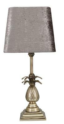 45cm Antique Brass Pineapple Bedside Table Lamp w Snakeskin Taupe Shade