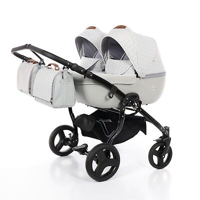 JUNAMA MADENA DUO TWIN PRAM 2in1, 3in1 CARRYCOT+PUSHCHAIR+CAR SEAT+ISOFIX