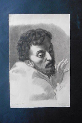 French School 1883 - Portrait Of A Religious Man Sign. Lagrange - Charcoal