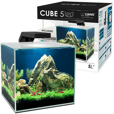 Ciano Shrimp Aquarium Tank CUBE 5L with CF20 Internal Filter & Led Lighting