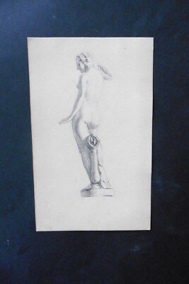 FRENCH SCHOOL 19thC - STUDY FEMALE NUDE - FINE PENCIL DRAWING