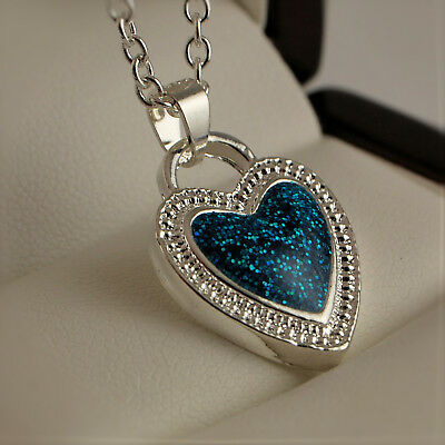 ee1518253 925 Stamped Silver Plated Syn Blue Fire Opal Crystal Heart Pendant Necklace  366