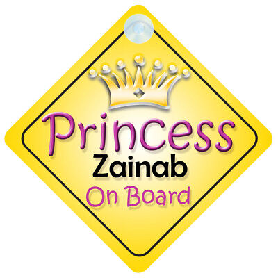 Princess Lily On Board Personalised Girl Car Sign Child Gift 001
