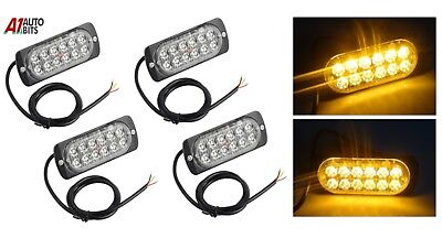 Four 12 Led Amber Strobe Flashing Emergency Recovery Grille Lights Bar Car Truck