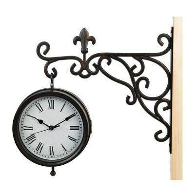Wall Bracket Hanging Traditional Double Sided Clock