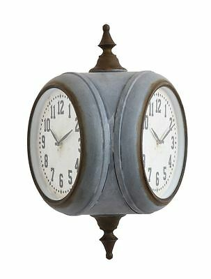 SNL Industrial Style Indoor/Outdoor  Double Sided Clock,19.1/4''H.