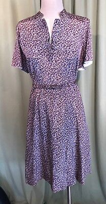 Cute Vintage 40's 50's Gray Geometric Print SS Rayon Belted Fit & Flare Dress 44